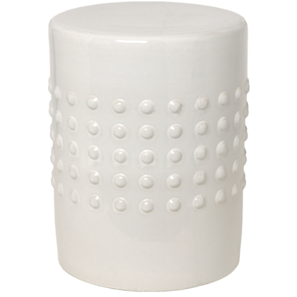Image of round, white garden stool with raised dot pattern