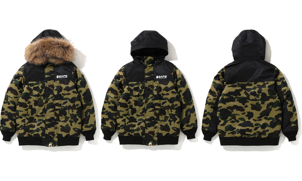 1ST CAMO OVERSIZED HOODIE DOWN JACKET