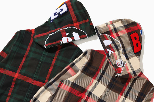 BAPE® CHECK 2ND APE WIDE FULL ZIP HOODIE