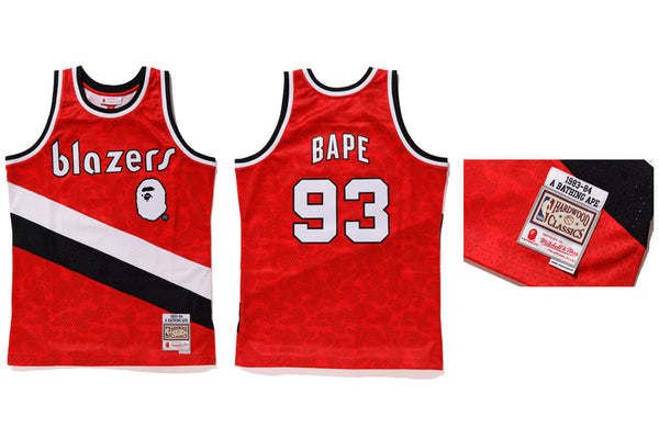 New Men/'s Portland Trail Blazers #93 BAPE Basketball jersey embroidery Red