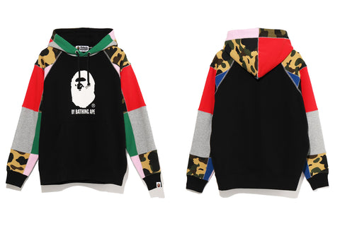 PATCHWORK WIDE PULLOVER HOODIE