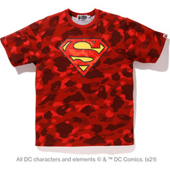 BAPE X DC SUPERMAN COLOR CAMO TEE MENS