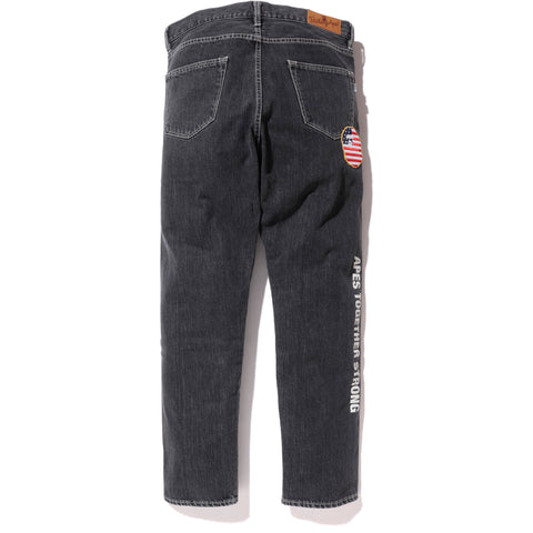BAPE PATCH TAPERED DENIM PANTS MENS