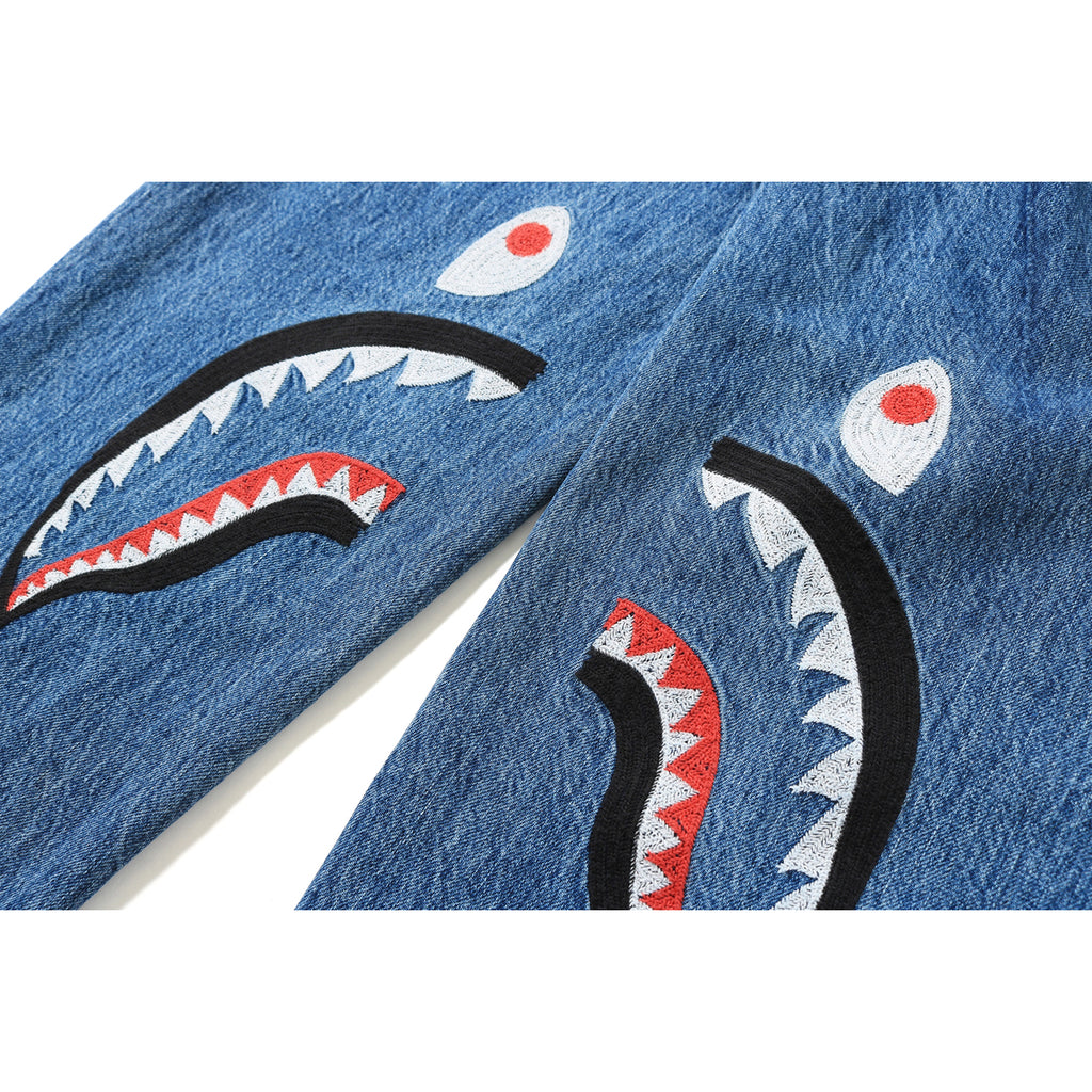 EMBROIDERY SHARK BAGGY DENIM PANTS LADIES
