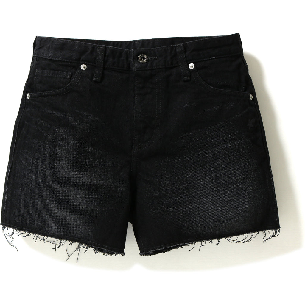 APE HEAD WASHED DENIM SHORTS LADIES