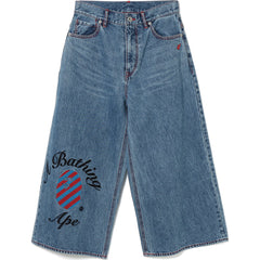 STRIPE COLLEGE CROPPED WIDE DENIM PANTS LADIES