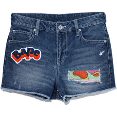 DAMAGE DENIM MINI SHORTS LADIES