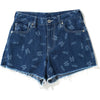 SHARK PATTERN DENIM SHORTS LADIES