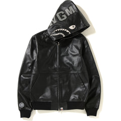 LEATHER SHARK HOODIE JACKET MENS