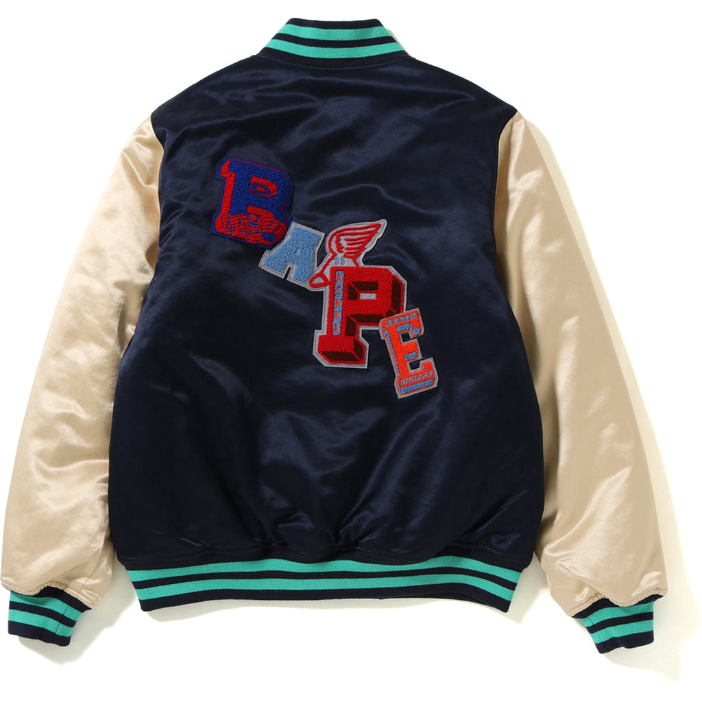 MULTI EMBLEM SATIN VARSITY JACKET MENS