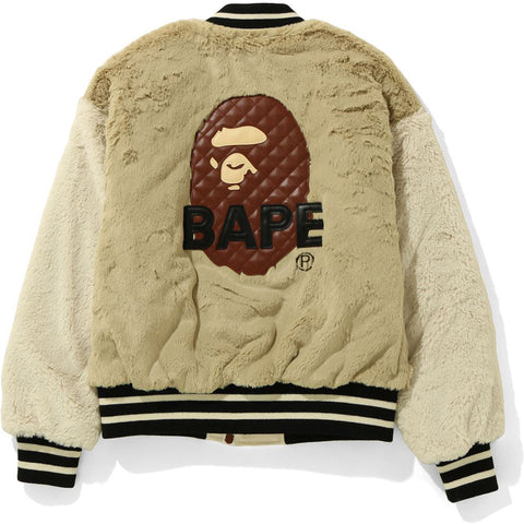 FUR BAPE VARSITY JACKET LADIES