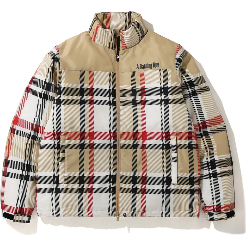 BAPE CHECK DOWN JACKET MENS