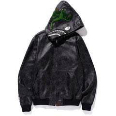 BAPE X COACH LEATHER SHARK HOODIE JACKET MENS