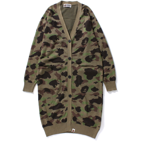APE FACE 1ST CAMO LONG KNIT CARDIGAN LADIES