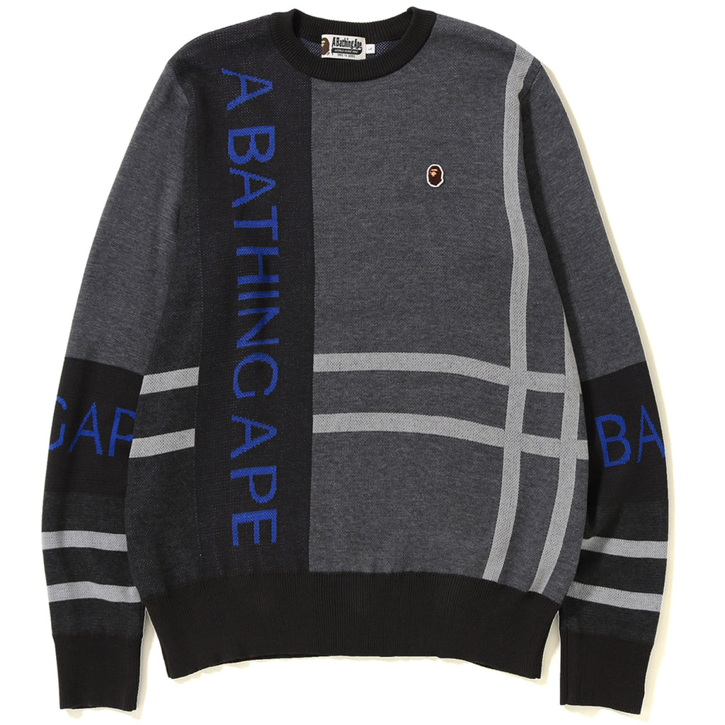 BIG BAPE LOGO CHECK KNIT MENS