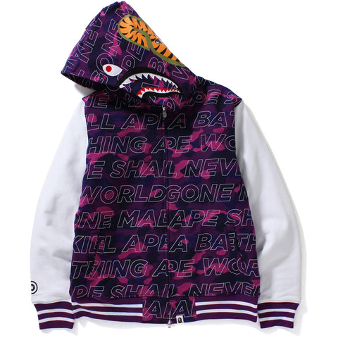 TEXT COLOR CAMO SHARK SWEAT VARSITY JACKET MENS