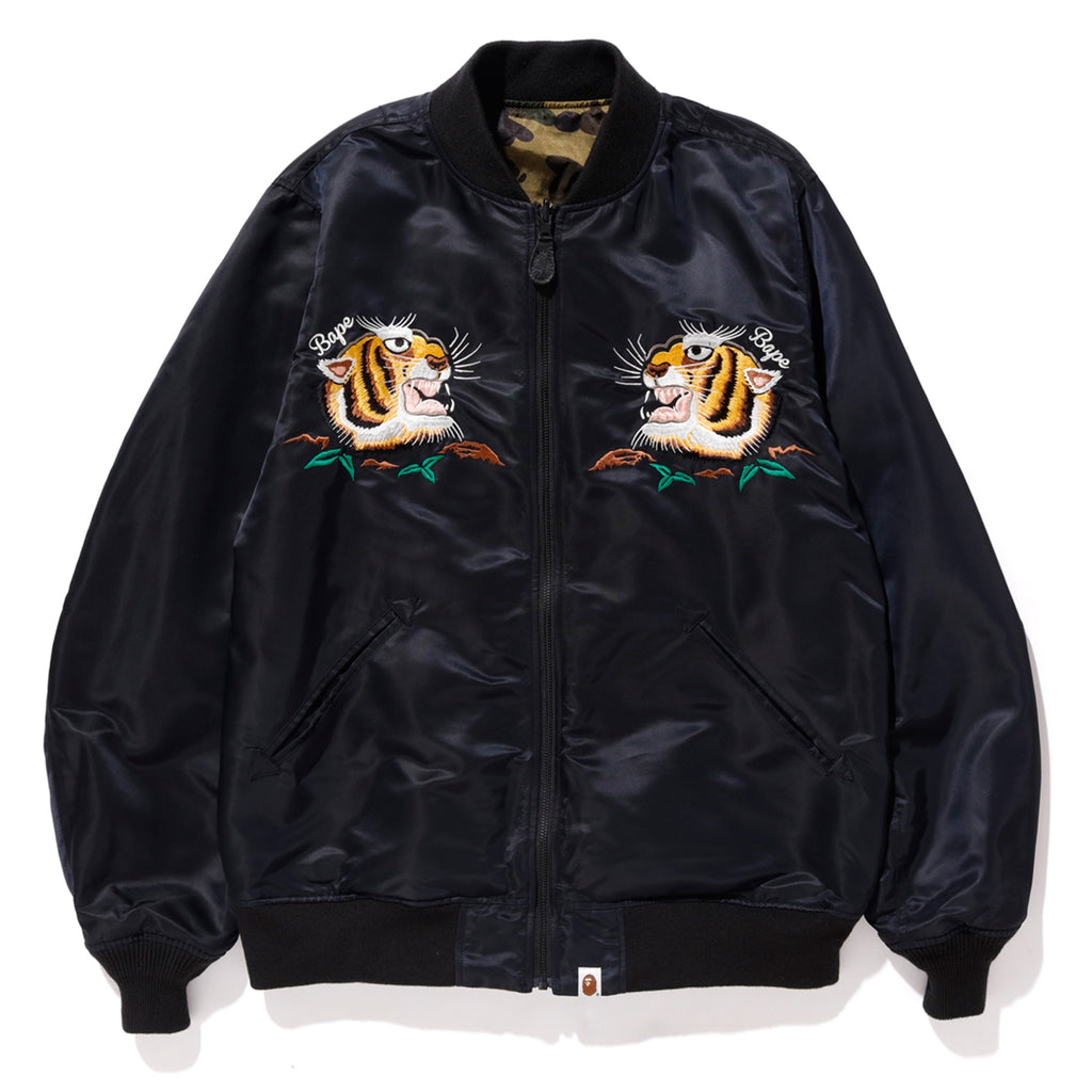 bac2d929b15d TIGER EMBROIDERY REVERSIBLE LIGHT BOMBER MENS