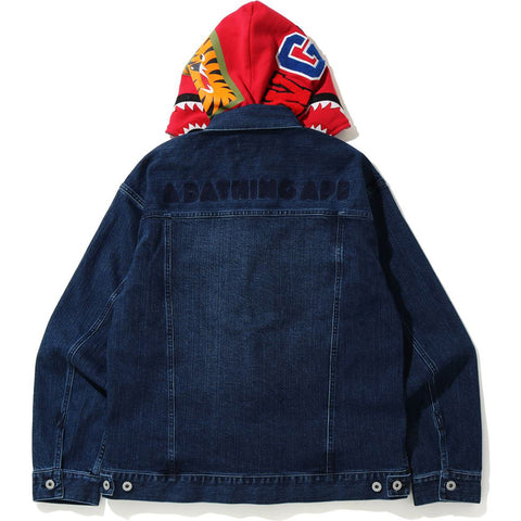 RELAXED SHARK HOODIE DENIM JACKET MENS