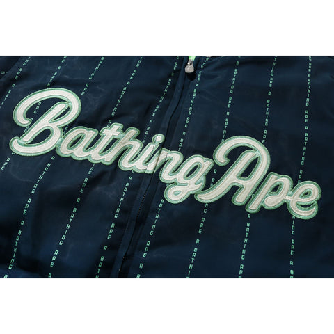 TEXT STRIPE BASEBALL JACKET MENS