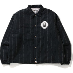 TEXT STRIPE RELAXED COACH JACKET MENS