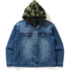1ST CAMO LOOSE FIT HOODIE DENIM JACKET MENS