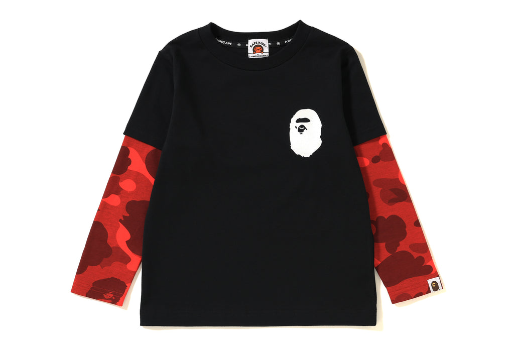 COLOR CAMO APE HEAD LAYERED L/S TEE KIDS