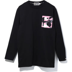 WARM UP CAMO POCKET OVERSIZED L/S TEE LADIES