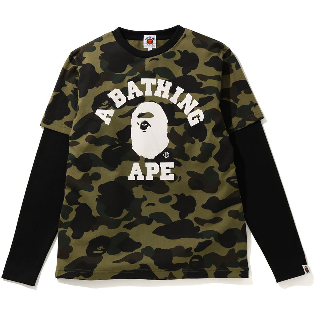 1ST CAMO COLLEGE LAYERED L/S TEE JR KIDS