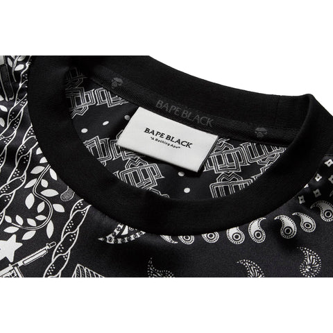BAPE BLACK SILK WOVEN PAISLEY LONG SLEEVE TEE MENS