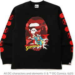 BAPE X DC SUPERMAN LONG SLEEVE TEE MENS