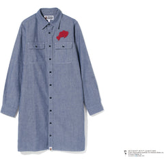 BETTY BAPE CHAMBRAY SHIRT ONEPIECE LADIES