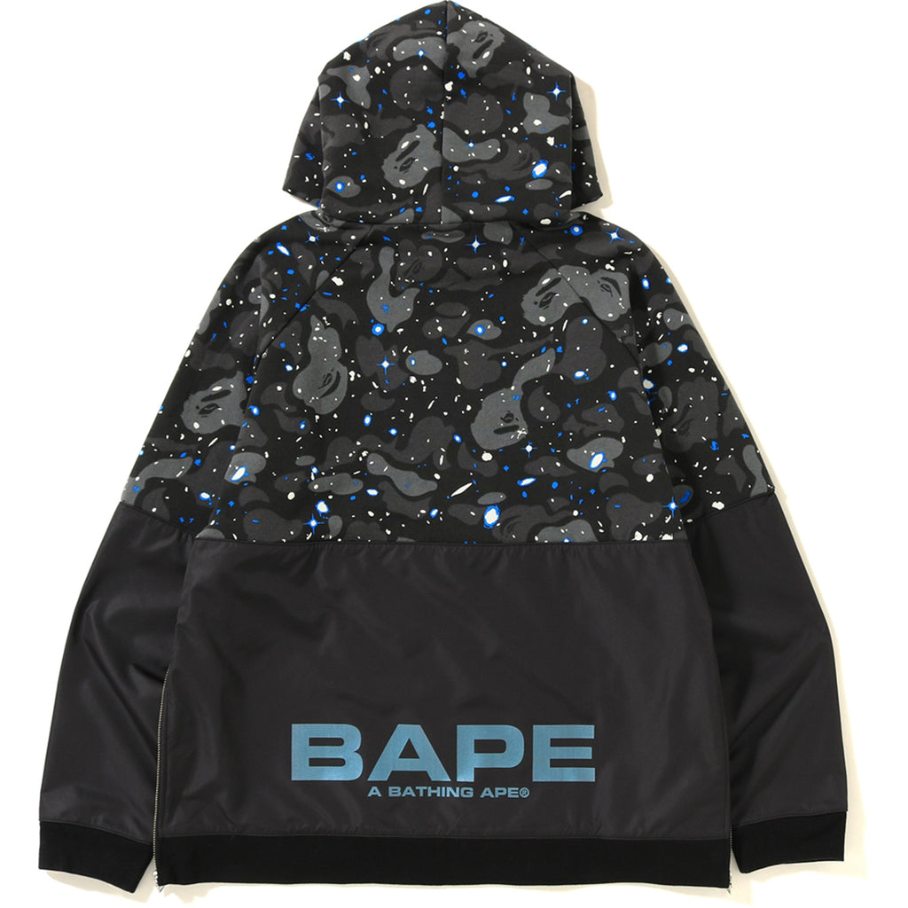 SPACE CAMO WIDE SIDE ZIP PULLOVER HOODIE MENS