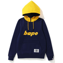 MIX MATERIAL HALF ZIP PULLOVER HOODIE LADIES