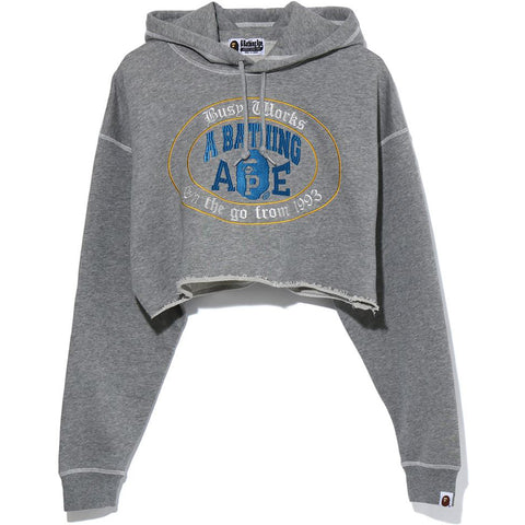 COLLEGE LOGO CUT OFF PULLOVER HOODIE LADIES