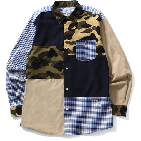 1ST CAMO MULTI PATTERN SHIRT M