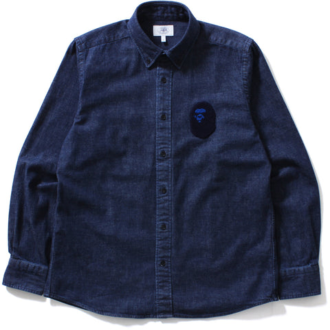 LARGE APE HEAD INDIGO BD SHIRT / MENS