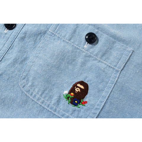 FLOWER BAPE CHAMBRAY S/S SHIRT LADIES
