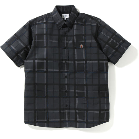 RELAXED BAPE LOGO CHECK S/S SHIRT MENS