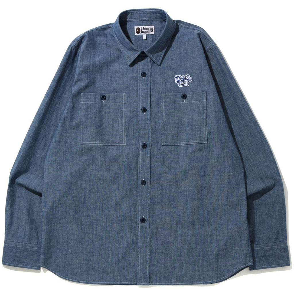 BLUE RIBBON PATCH CHAMBRAY SHIRT MENS