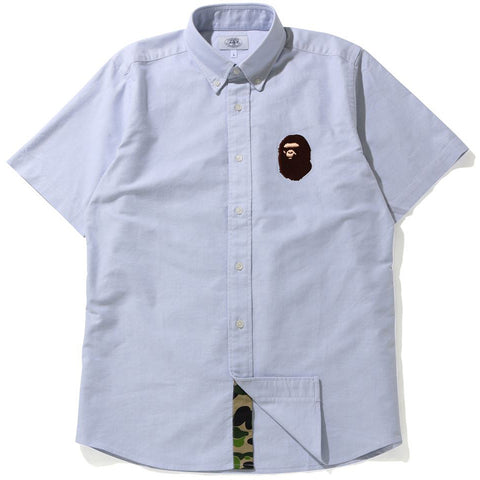 LARGE APE HEAD OXFORD BD S/S SHIRT MENS