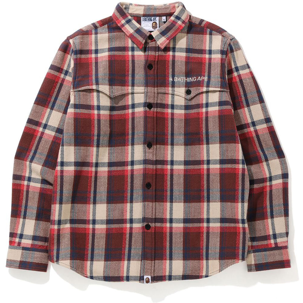 BAPE CHECK FLANNEL SHIRT MENS