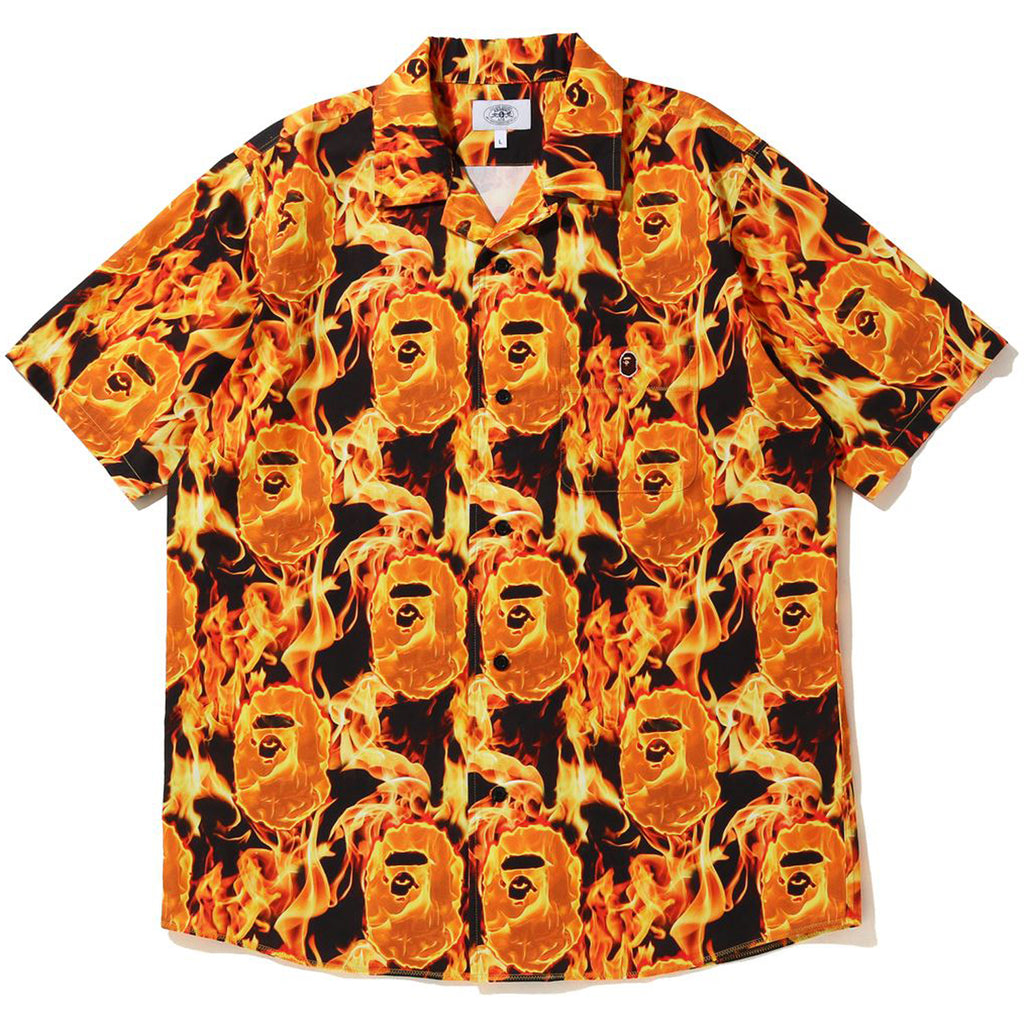BAPE FLAME OPEN COLLAR SHIRT MENS
