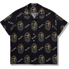 BAPE BLACK FLORAL MAD FACE HAWAII SHIRT MENS