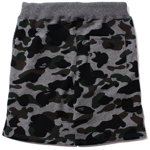 HEATHER GRAY CAMO SHARK SWEAT SHORTS