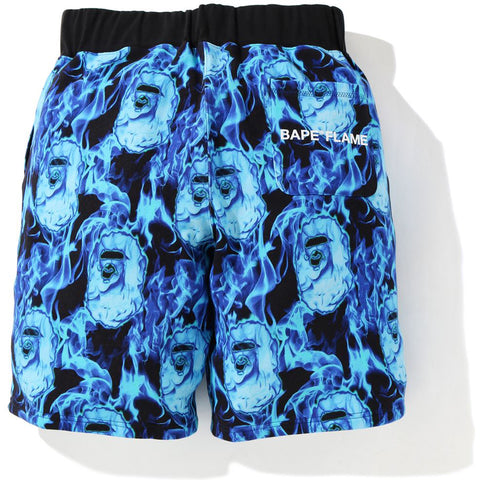 BAPE FLAME WIDE SWEAT SHORTS MENS