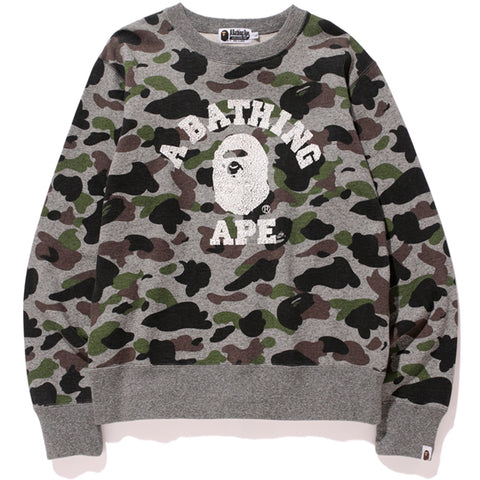 HEATHER GRAY CAMO COLLEGE CREWNECK