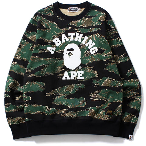 TIGER CAMO COLLEGE CREWNECK