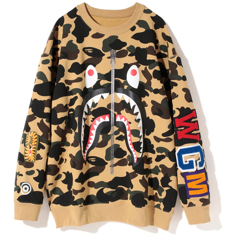 1ST CAMO SHARK OVER SIZED CREWNECK /AP