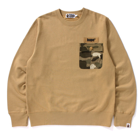 COLOR CAMO POCKET CREWNECK MENS