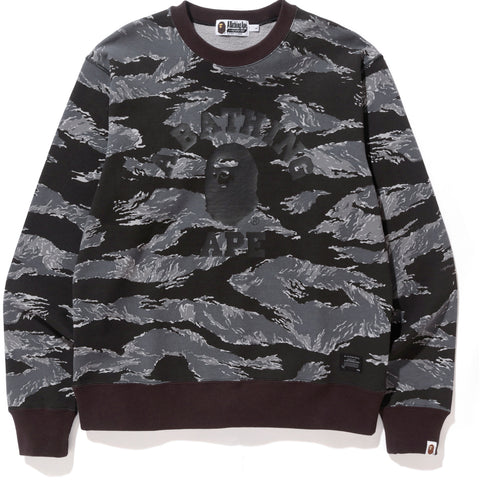 TIGER CAMO COLLEGE WIDE CREWNECK MENS